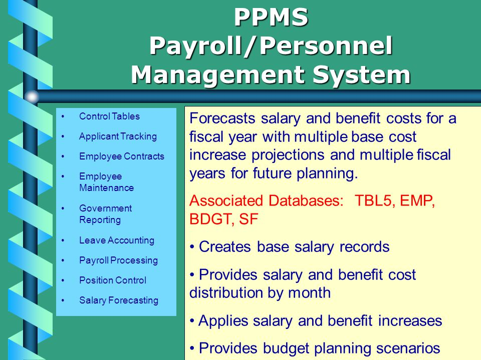 Control Tables Applicant Tracking Employee Contracts Employee Maintenance Government Reporting Leave Accounting Payroll Processing Position Control Salary Forecasting PPMSPayroll/Personnel Management System Forecasts salary and benefit costs for a fiscal year with multiple base cost increase projections and multiple fiscal years for future planning.
