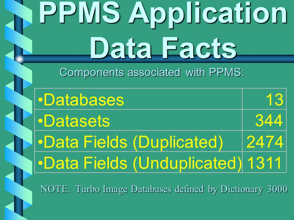 PPMS Application Data Facts Components associated with PPMS: Databases13 Datasets 344 Data Fields (Duplicated)2474 Data Fields (Unduplicated)1311 NOTE: Turbo Image Databases defined by Dictionary 3000