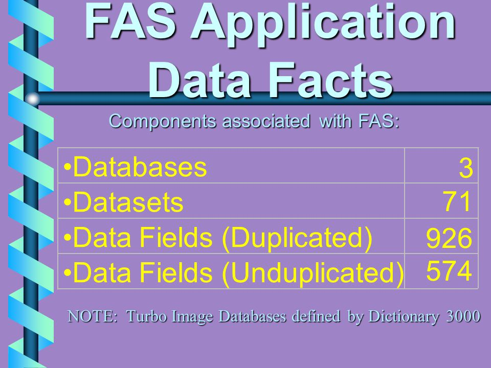 FAS Application Data Facts Components associated with FAS: Databases 3 Datasets 71 Data Fields (Duplicated) 926 Data Fields (Unduplicated) 574 NOTE: Turbo Image Databases defined by Dictionary 3000