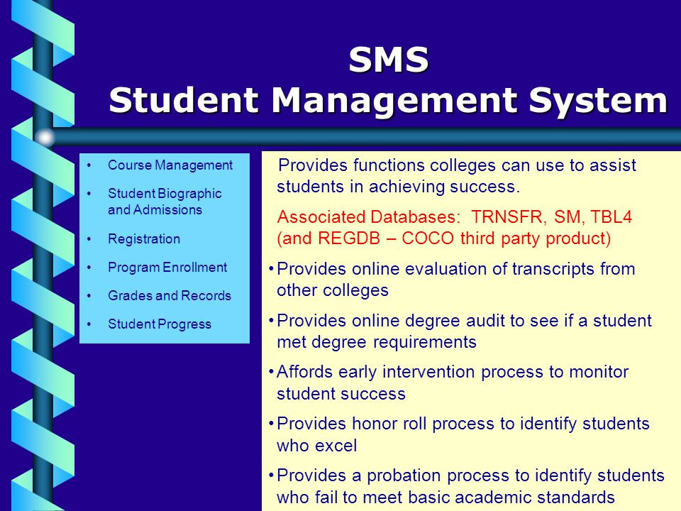 Course Management SMS Student Management System Student Biographic and Admissions Registration Program Enrollment Grades and Records Student Progress Provides functions colleges can use to assist students in achieving success.