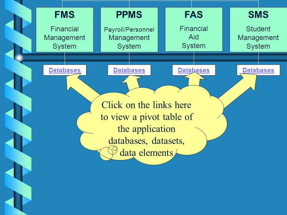 Databases FMS Financial Management System PPMS Payroll/Personnel Management System FAS Financial Aid System SMS Student Management System Click on the links here to view a pivot table of the application databases, datasets, data elements