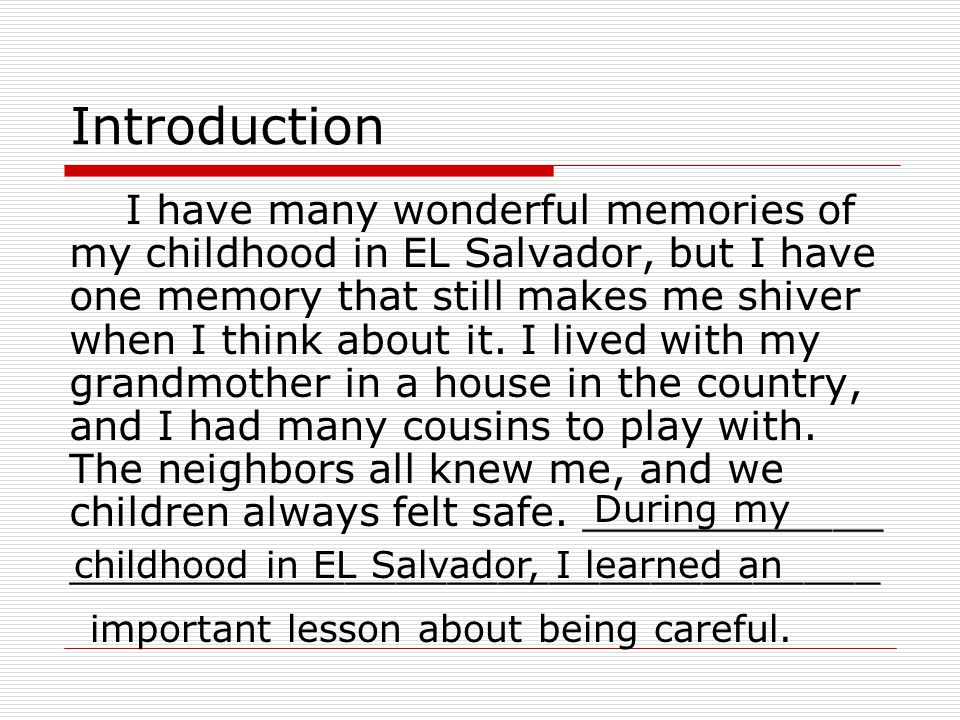 Essay On Childhood Memory
