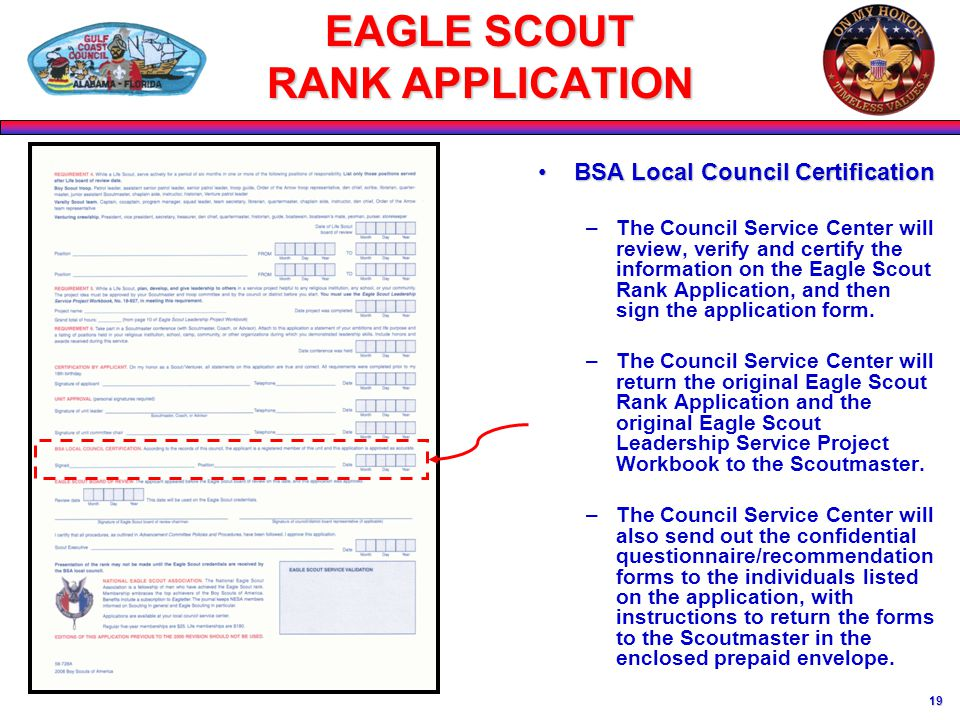 1 EAGLE SCOUT RANK APPLICATION April 4, USE THE CORRECT FORM PID ...