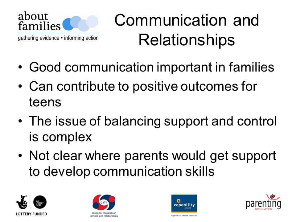 an analysis of the topic of the teenager and parent communication Communication - good communication is important in a family to a parent it could mean in an hour.