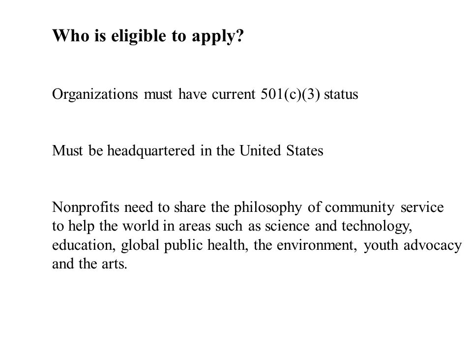 Who is eligible to apply.
