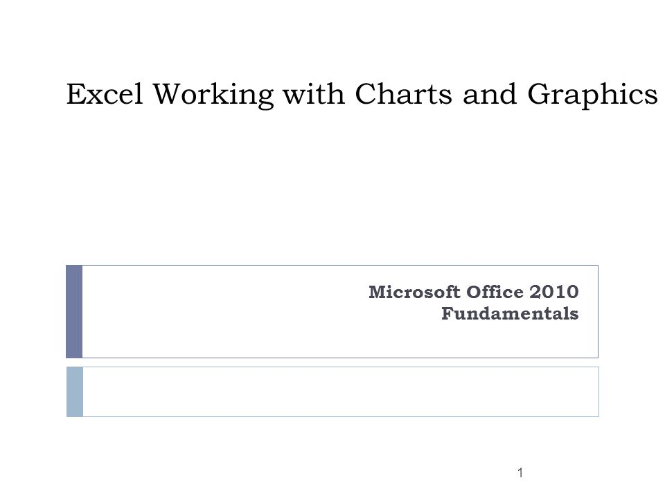 Excel Working with Charts and Graphics Microsoft Office 2010 Fundamentals 1