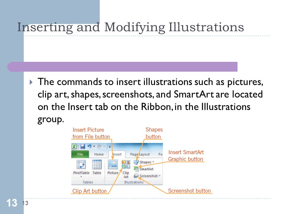 Inserting and Modifying Illustrations 13  The commands to insert illustrations such as pictures, clip art, shapes, screenshots, and SmartArt are located on the Insert tab on the Ribbon, in the Illustrations group.