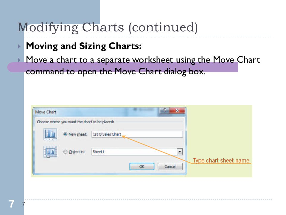 Modifying Charts (continued) 7  Moving and Sizing Charts:  Move a chart to a separate worksheet using the Move Chart command to open the Move Chart dialog box.