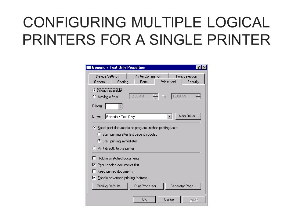 CONFIGURING MULTIPLE LOGICAL PRINTERS FOR A SINGLE PRINTER