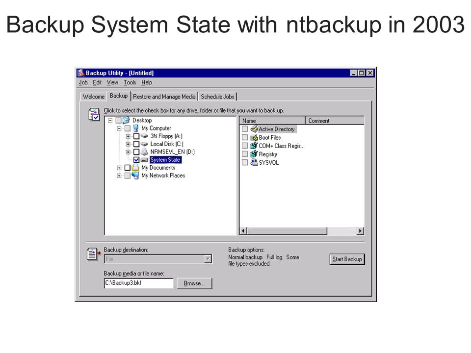 Backup System State with ntbackup in 2003