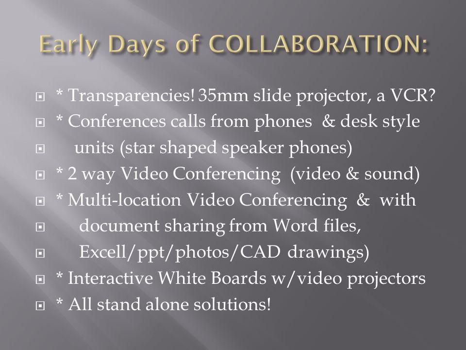  * Transparencies. 35mm slide projector, a VCR.