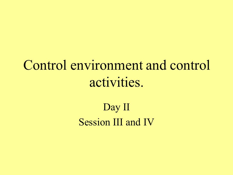 Control environment and control activities. Day II Session III and IV