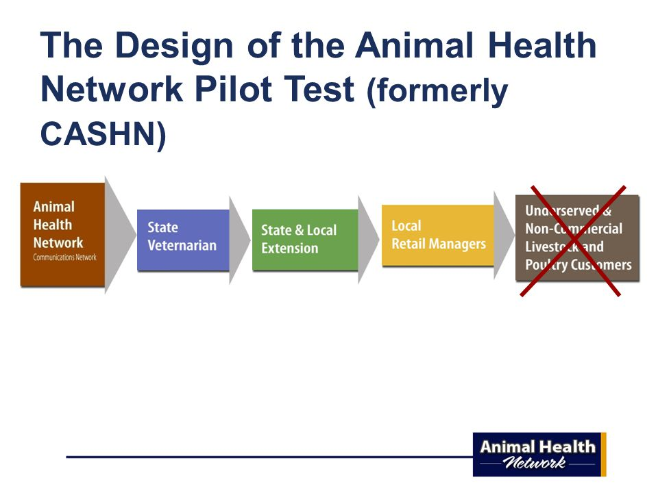 The Design of the Animal Health Network Pilot Test (formerly CASHN)