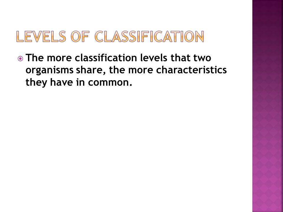  The more classification levels that two organisms share, the more characteristics they have in common.