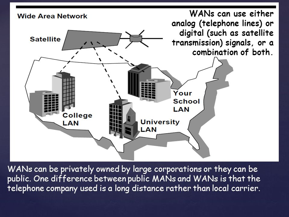 WANs can be privately owned by large corporations or they can be public.