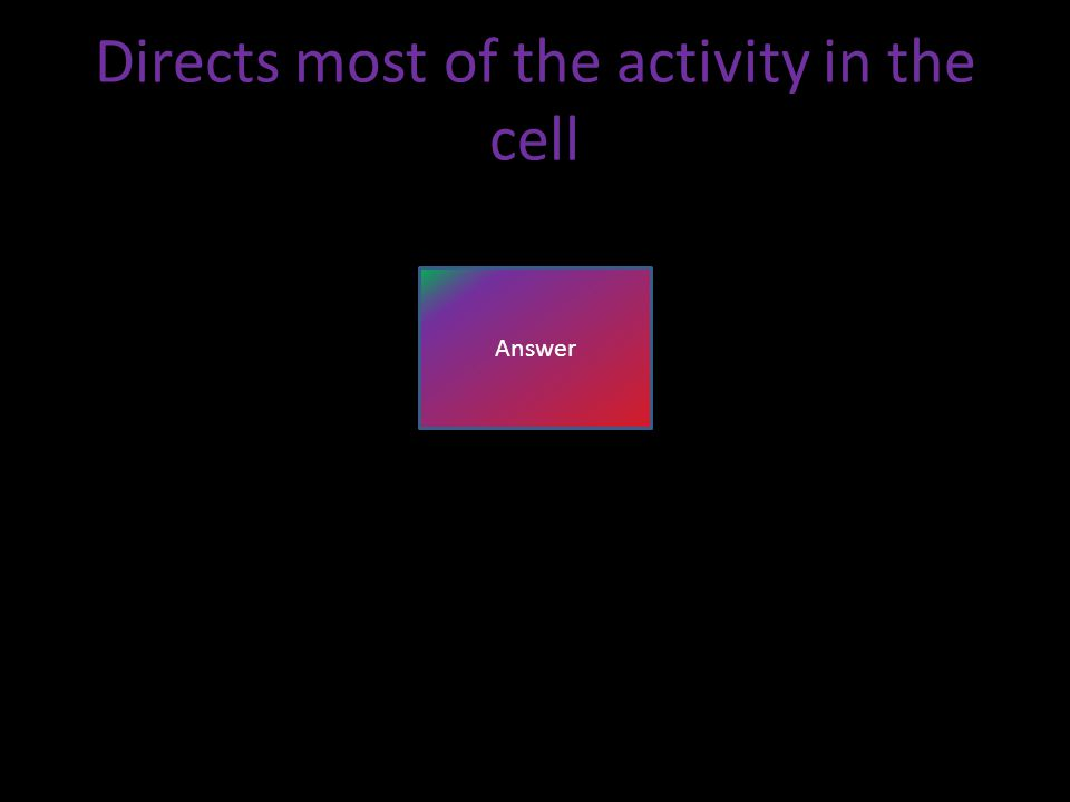 Directs most of the activity in the cell Answer
