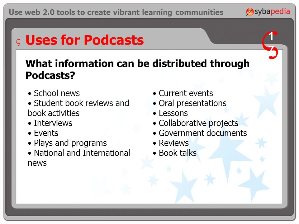Uses for Podcasts What information can be distributed through Podcasts.