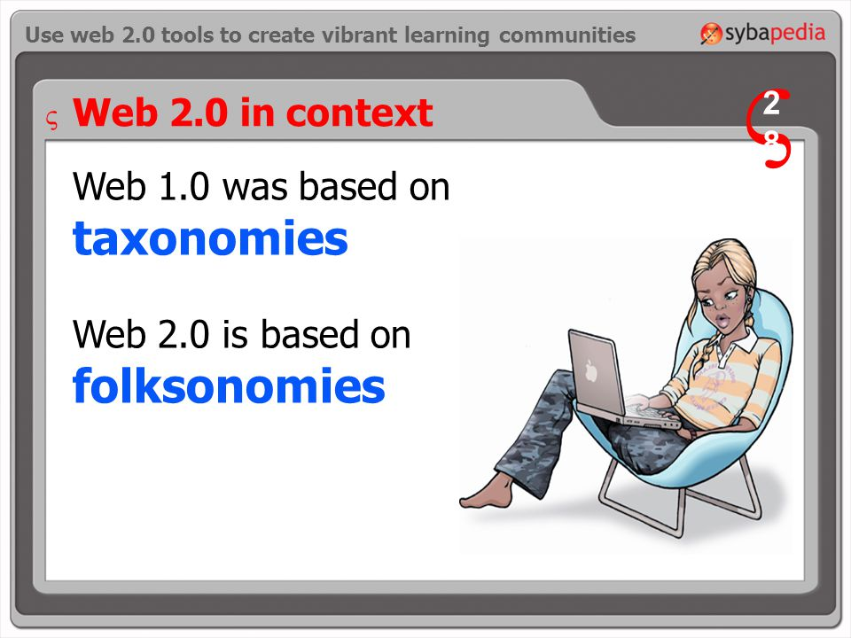 Web 1.0 was based on taxonomies Web 2.0 is based on folksonomies Use web 2.0 tools to create vibrant learning communities Web 2.0 in context V 2828 V