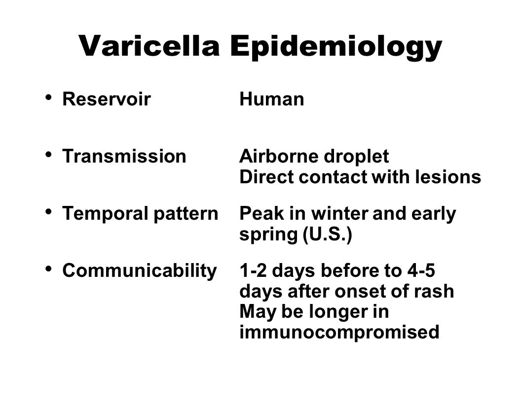 Varicella Epidemiology Reservoir Human Transmission Airborne droplet Direct contact with lesions Temporal pattern Peak in winter and early spring (U.S.) Communicability 1-2 days before to 4-5 days after onset of rash May be longer in immunocompromised