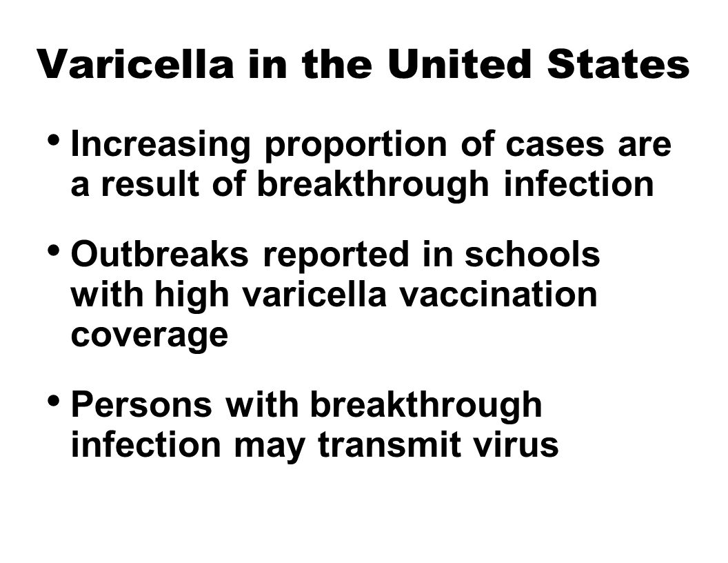 Varicella in the United States Increasing proportion of cases are a result of breakthrough infection Outbreaks reported in schools with high varicella vaccination coverage Persons with breakthrough infection may transmit virus
