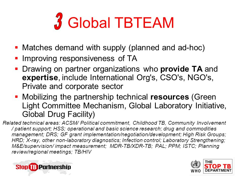 Global TBTEAM  Matches demand with supply (planned and ad-hoc)  Improving responsiveness of TA  Drawing on partner organizations who provide TA and expertise, include International Org s, CSO s, NGO s, Private and corporate sector  Mobilizing the partnership technical resources (Green Light Committee Mechanism, Global Laboratory Initiative, Global Drug Facility) Related technical areas: ACSM/ Political commitment, Childhood TB, Community Involvement / patient support; HSS; operational and basic science research; drug and commodities management; DRS; GF grant implementation/negotiation/development; High Risk Groups; HRD; X-ray, other non-laboratory diagnostics; Infection control; Laboratory Strengthening; M&E/supervision/ impact measurement; MDR-TB/XDR-TB; PAL; PPM; ISTC; Planning review/regional meetings; TB/HIV