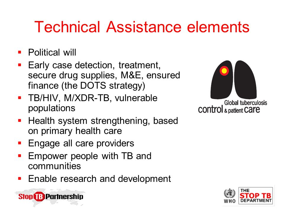 Technical Assistance elements  Political will  Early case detection, treatment, secure drug supplies, M&E, ensured finance (the DOTS strategy)  TB/HIV, M/XDR-TB, vulnerable populations  Health system strengthening, based on primary health care  Engage all care providers  Empower people with TB and communities  Enable research and development