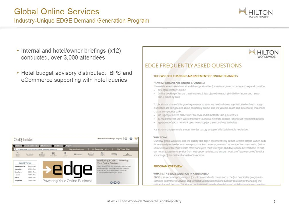 9 © 2012 Hilton Worldwide Confidential and Proprietary Industry-Unique EDGE  Demand Generation Program Global Online Services ...
