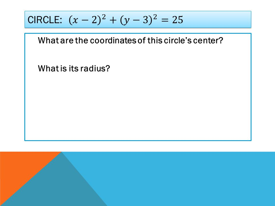 What are the coordinates of this circle's center What is its radius