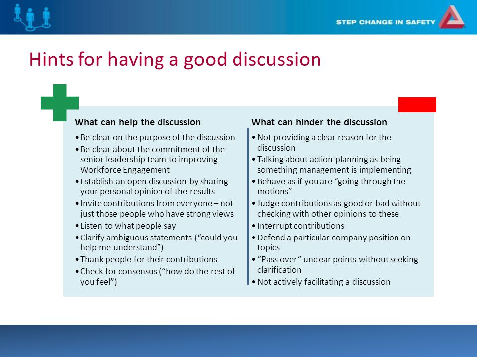 Hints for having a good discussion What can help the discussion Be clear on the purpose of the discussion Be clear about the commitment of the senior leadership team to improving Workforce Engagement Establish an open discussion by sharing your personal opinion of the results Invite contributions from everyone – not just those people who have strong views Listen to what people say Clarify ambiguous statements ( could you help me understand ) Thank people for their contributions Check for consensus ( how do the rest of you feel ) What can hinder the discussion Not providing a clear reason for the discussion Talking about action planning as being something management is implementing Behave as if you are going through the motions Judge contributions as good or bad without checking with other opinions to these Interrupt contributions Defend a particular company position on topics Pass over unclear points without seeking clarification Not actively facilitating a discussion