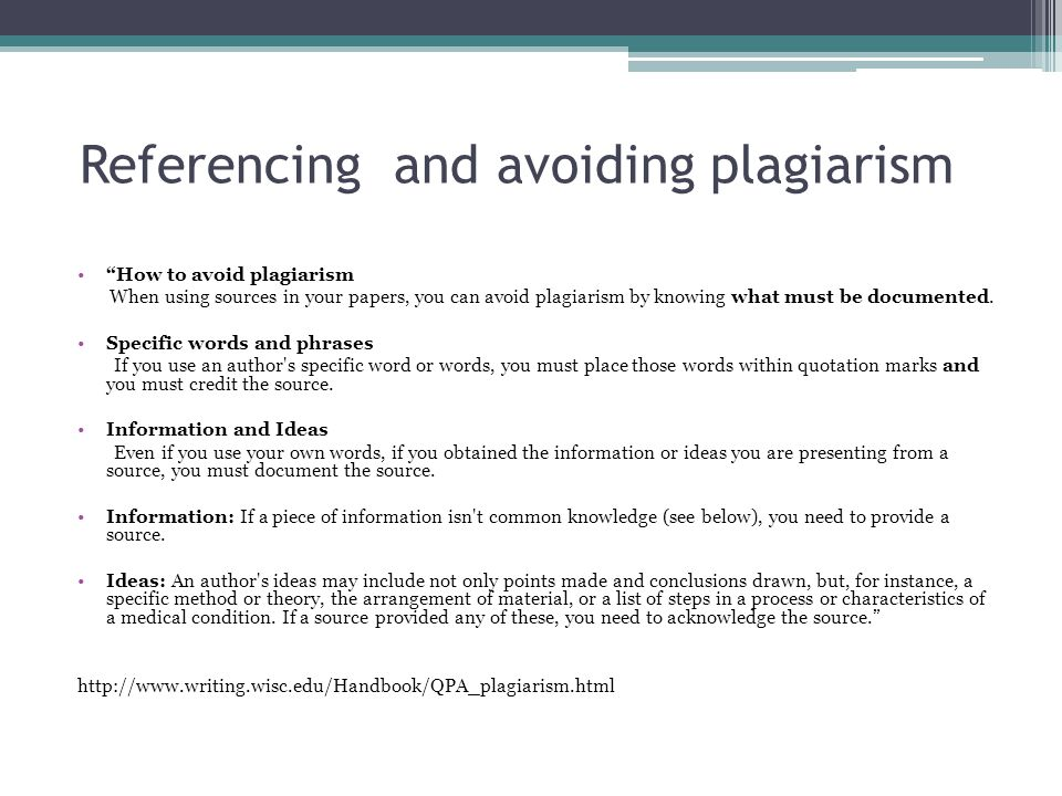 Referencing and avoiding plagiarism How to avoid plagiarism When using sources in your papers, you can avoid plagiarism by knowing what must be documented.