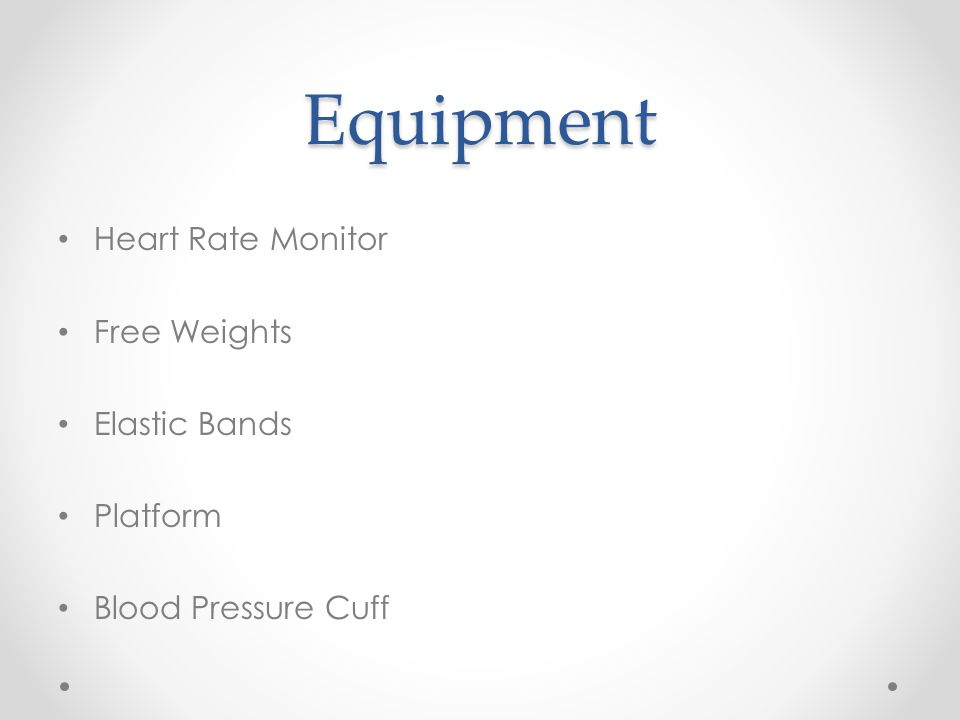 Equipment Heart Rate Monitor Free Weights Elastic Bands Platform Blood Pressure Cuff