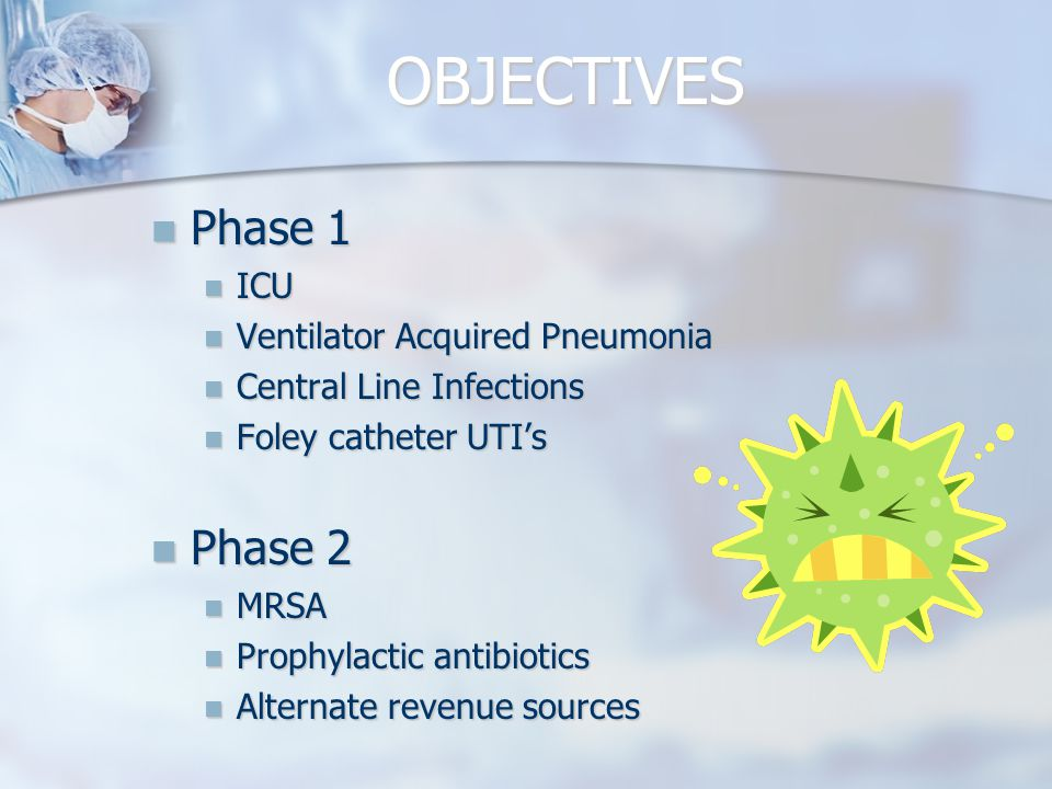 OBJECTIVES Phase 1 Phase 1 ICU ICU Ventilator Acquired Pneumonia Ventilator Acquired Pneumonia Central Line Infections Central Line Infections Foley catheter UTI's Foley catheter UTI's Phase 2 Phase 2 MRSA MRSA Prophylactic antibiotics Prophylactic antibiotics Alternate revenue sources Alternate revenue sources