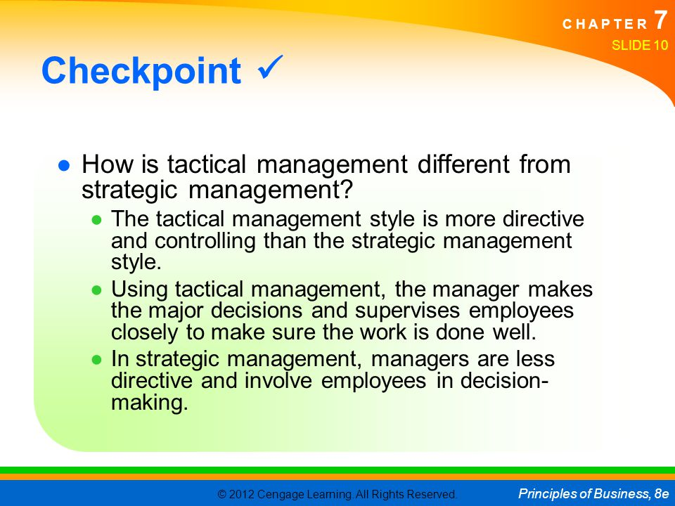 © 2012 Cengage Learning. All Rights Reserved. Principles of Business, 8e C H A P T E R 7 SLIDE 10 Checkpoint ●How is tactical management different fro