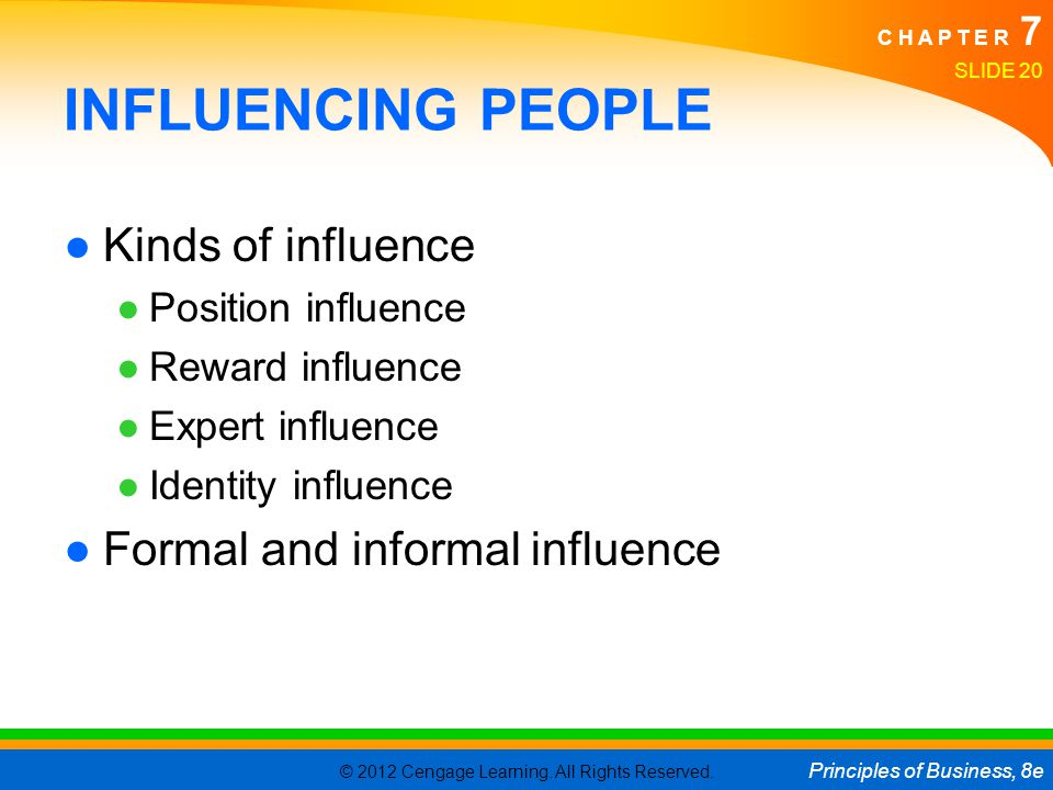 © 2012 Cengage Learning. All Rights Reserved. Principles of Business, 8e C H A P T E R 7 SLIDE 20 INFLUENCING PEOPLE ●Kinds of influence ●Position inf