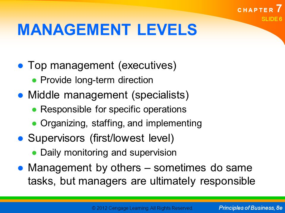 © 2012 Cengage Learning. All Rights Reserved. Principles of Business, 8e C H A P T E R 7 SLIDE 6 MANAGEMENT LEVELS ●Top management (executives) ●Provi