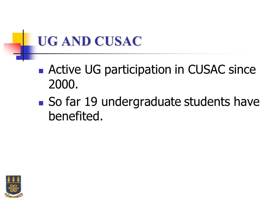 UG AND CUSAC Active UG participation in CUSAC since 2000.