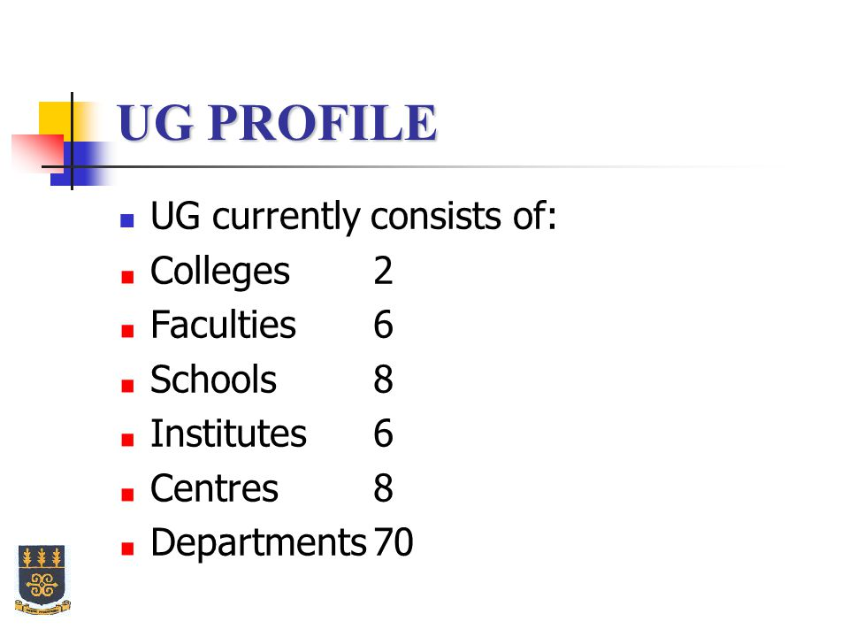UG PROFILE UG currently consists of: Colleges 2 Faculties 6 Schools 8 Institutes 6 Centres 8 Departments70