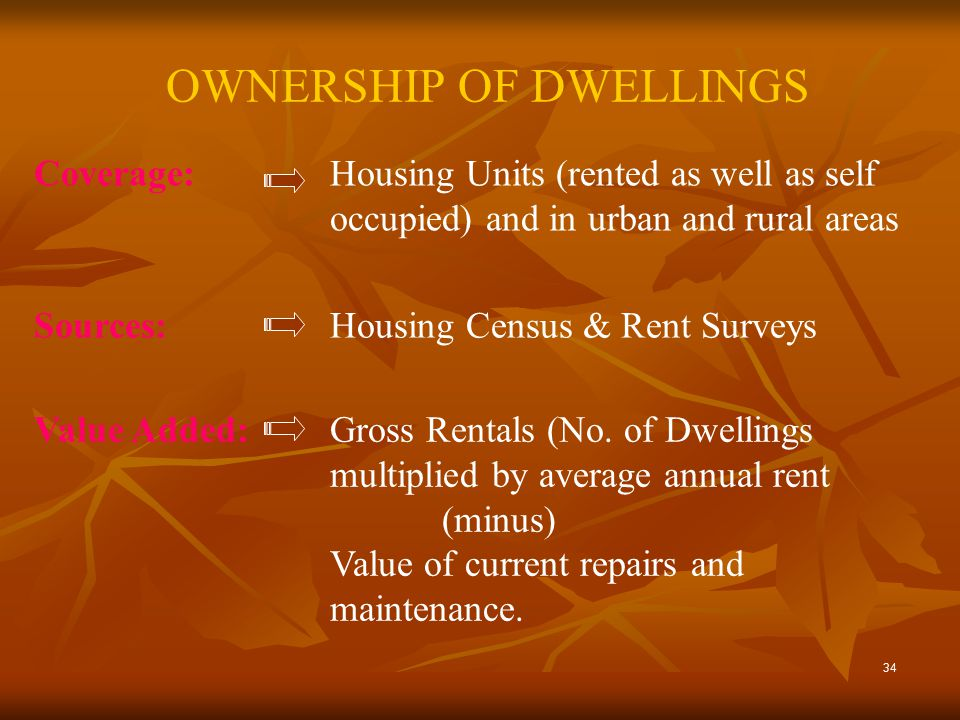 34 OWNERSHIP OF DWELLINGS Coverage: Housing Units (rented as well as self occupied) and in urban and rural areas Sources:Housing Census & Rent Surveys Value Added:Gross Rentals (No.