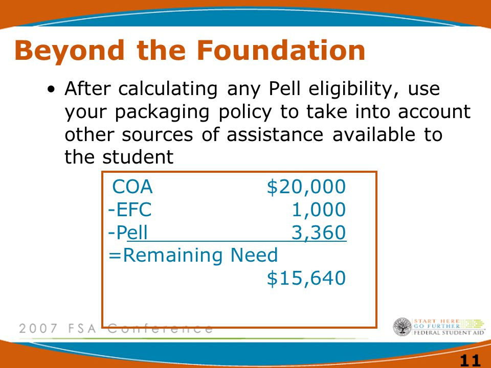 11 Beyond the Foundation COA$20,000 -EFC1,000 -Pell3,360 =Remaining Need $15,640 After calculating any Pell eligibility, use your packaging policy to take into account other sources of assistance available to the student