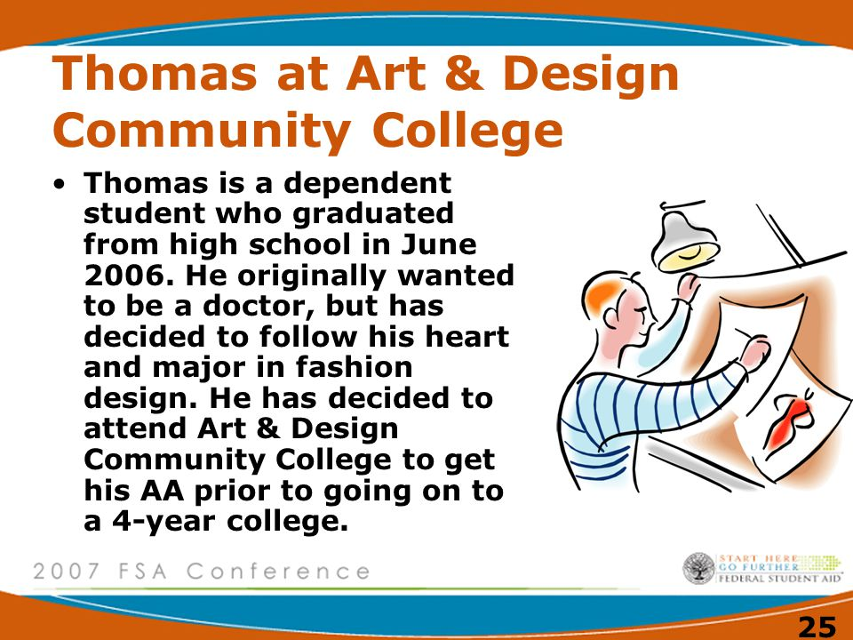 25 Thomas at Art & Design Community College Thomas is a dependent student who graduated from high school in June 2006.