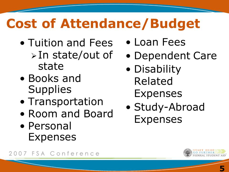 5 Cost of Attendance/Budget Tuition and Fees  In state/out of state Books and Supplies Transportation Room and Board Personal Expenses Loan Fees Dependent Care Disability Related Expenses Study-Abroad Expenses