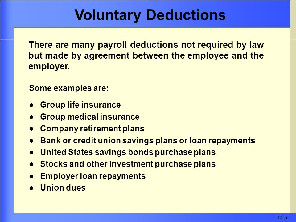 Some examples are: Group life insurance Group medical insurance Company retirement plans Bank or credit union savings plans or loan repayments United States savings bonds purchase plans Stocks and other investment purchase plans Employer loan repayments Union dues There are many payroll deductions not required by law but made by agreement between the employee and the employer.