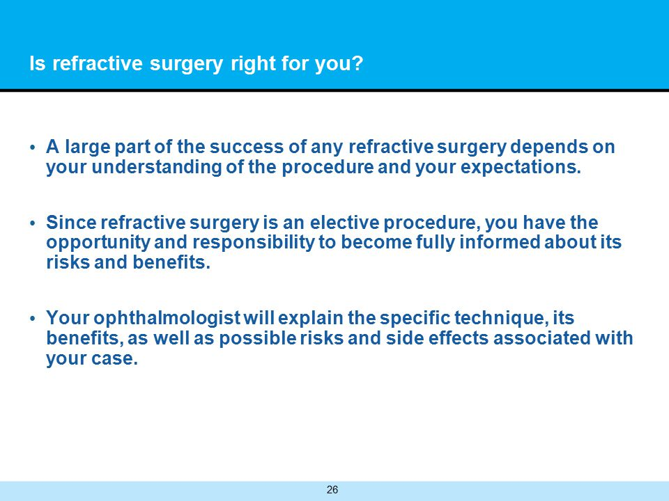 26 Is refractive surgery right for you.