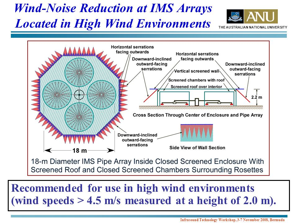 THE AUSTRALIAN NATIONAL UNIVERSITY Infrasound Technology Workshop, 3-7 November 2008, Bermuda Wind-Noise Reduction at IMS Arrays Located in High Wind Environments Recommended for use in high wind environments (wind speeds > 4.5 m/s measured at a height of 2.0 m).