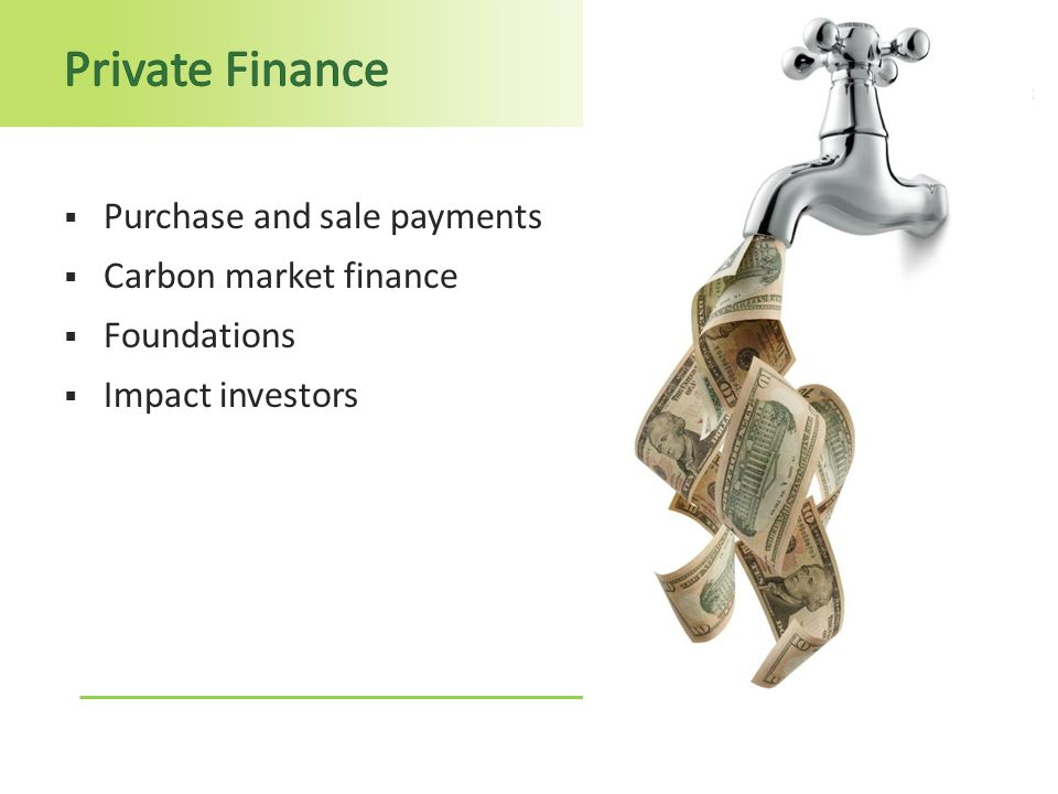  Purchase and sale payments  Carbon market finance  Foundations  Impact investors