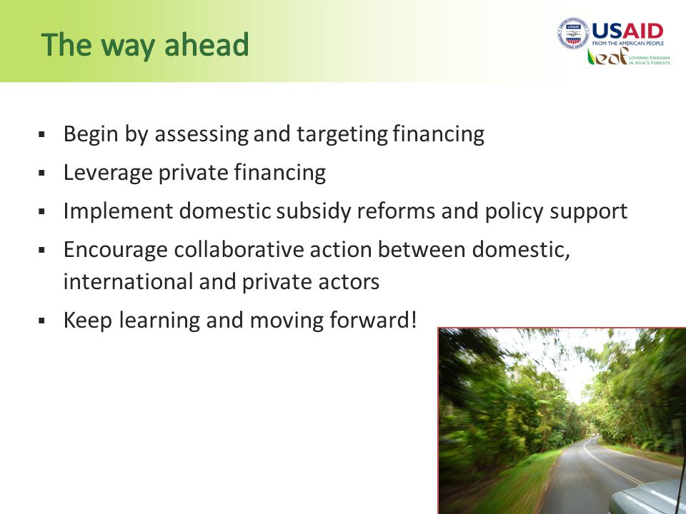  Begin by assessing and targeting financing  Leverage private financing  Implement domestic subsidy reforms and policy support  Encourage collaborative action between domestic, international and private actors  Keep learning and moving forward!