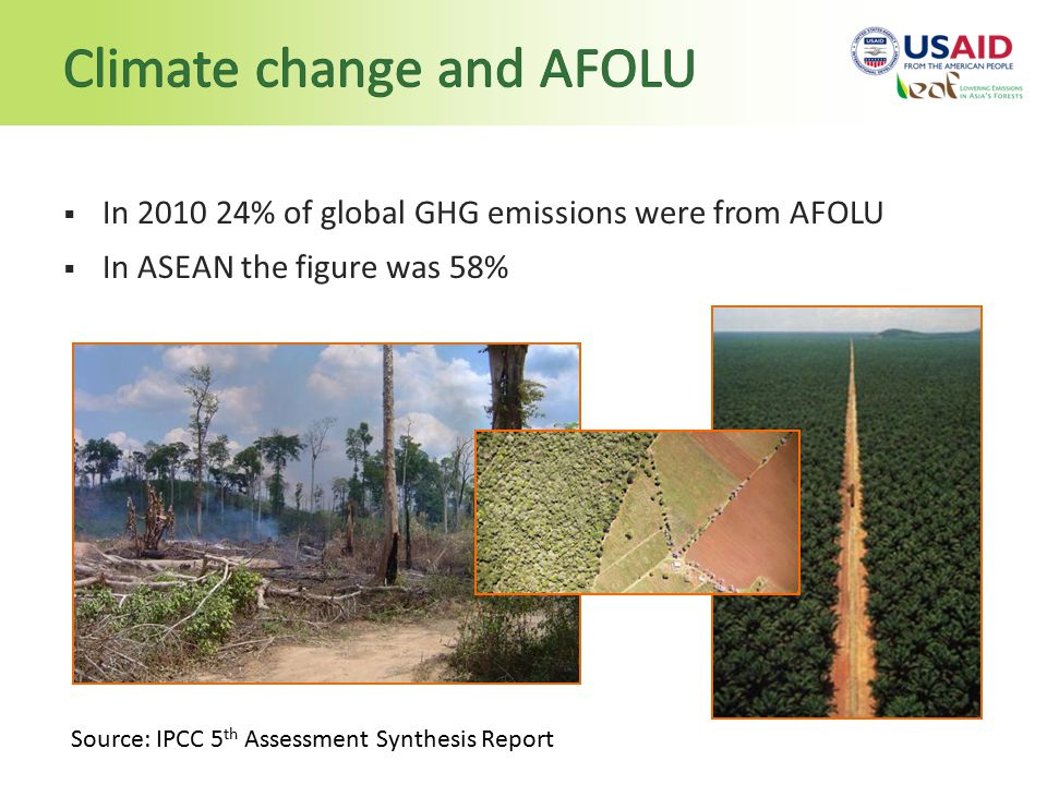  In % of global GHG emissions were from AFOLU  In ASEAN the figure was 58% Source: IPCC 5 th Assessment Synthesis Report