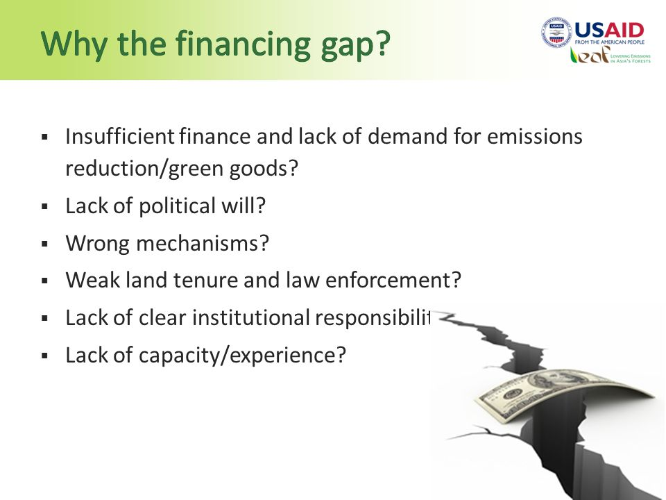 Insufficient finance and lack of demand for emissions reduction/green goods.