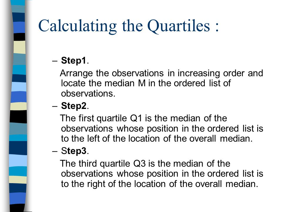 Calculating the Quartiles : –Step1.