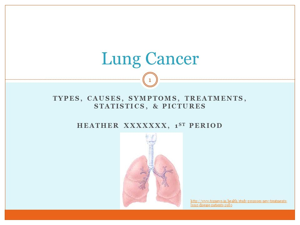TYPES, CAUSES, SYMPTOMS, TREATMENTS, STATISTICS, & PICTURES HEATHER XXXXXXX, 1 ST PERIOD Lung Cancer 1   lung-disease-patients-2980